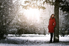 Beautiful elegant woman in red coat Stock Images