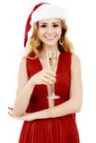 Beautiful elegant woman in red dress with a glass of champagne c Royalty Free Stock Photos