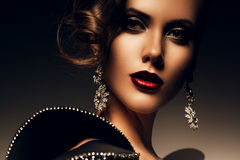 Beautiful elegant woman with red lips Stock Photos