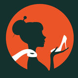 Beautiful elegant woman silhouette holding a shoe. In vector format. Vintage round composition Royalty Free Stock Photography