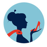 Beautiful  elegant woman silhouette Royalty Free Stock Images