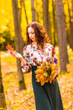 Beautiful elegant woman standing in an autumn park Stock Image
