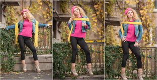 Beautiful elegant woman on street in autumn. Young pretty woman city shoot. Beautiful woman spending time outdoor during autumn Stock Image