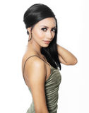 Beautiful elegant woman wearing dress. Stylish makeup and hair Royalty Free Stock Image
