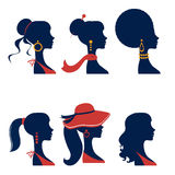 Beautiful  elegant women silhouettes set Stock Images