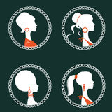 Beautiful elegant women silhouettes set Royalty Free Stock Images