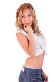Beautiful and elegant young woman in shorts Royalty Free Stock Photos