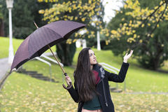Beautiful elegant young woman with umbrella in autumn park. Royalty Free Stock Photos