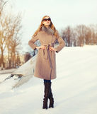 Beautiful elegant young woman wearing a coat and sunglasses in winter Royalty Free Stock Photos