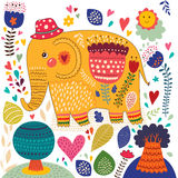 Beautiful elephant with colorful pattern Royalty Free Stock Images