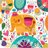 Beautiful elephant with colorful pattern Stock Photo