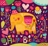 Beautiful elephant with colorful pattern Royalty Free Stock Photos