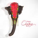 Beautiful elephant for Happy Onam celebration. Beautiful elephant on shiny grey background for South Indian festival, Happy Onam celebration Stock Photography