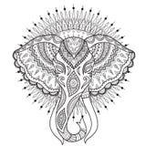 Beautiful elephant head with mandala circle background Royalty Free Stock Photography