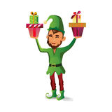 A beautiful elf with a beard holds two gifts for Christmas Royalty Free Stock Photo