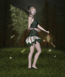 Beautiful elf in the middle of the forest. Midsummer night's dream series - Fireflies night vector illustration