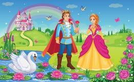 Free Beautiful Elf Princess, Prince, Swan. King And Queen. Fairytale Background. Flower Meadow, Castle, Rainbow, Lake. Wonderland. Stock Photos - 181306243