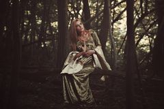 Beautiful elfin lady in magical forest stock photography