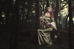Beautiful elvish woman in the woods Royalty Free Stock Photography