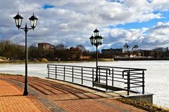 Beautiful embankment of the lake Verhnee. Kaliningrad (until 1946 Koenigsberg), Russia Royalty Free Stock Photos