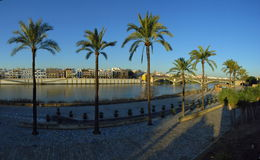 Beautiful embankment in Seville. Spain Royalty Free Stock Photos