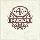 Beautiful emblem, badge, monogram, for template logo in the style of Nouveau art Royalty Free Stock Photos