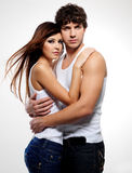 Beautiful embracing lovers royalty free stock images