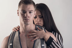 Beautiful embracing lovers Stock Photos