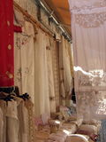 Beautiful embroideries. Embroideries in the village of Lefkara, Cyprus Stock Images