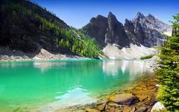 Beautiful Emerald Green Lake High Mountains, Canada Stock Images