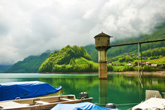Beautiful emerald mountain lake in Switzerland Royalty Free Stock Image