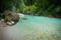 Beautiful emerald river Soca Royalty Free Stock Photos