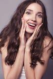 Beautiful emotional brunette Stock Photo