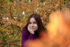 Beautiful emotional girl in autumn park. stock photography