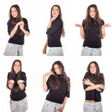 The beautiful emotional girl with long hair on a white backgroun. The beautiful girl shows different mood and emotions. a collage on a white background Royalty Free Stock Photos