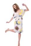 Beautiful emotional girl pose on white Royalty Free Stock Photo