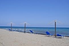 Beautiful empty Aegean sea beach in Rhodes island, Greece Stock Photo