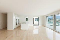 Beautiful empty apartment, modern kitchen. Beautiful empty apartment, marble floor, modern kitchen stock image