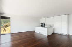 Beautiful Empty Apartment White Kitchen Royalty Free Stock Images