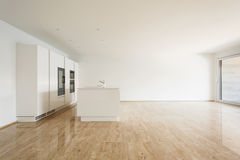 Beautiful empty apartment, white kitchen Royalty Free Stock Images