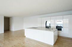Beautiful empty apartment, white kitchen Royalty Free Stock Image
