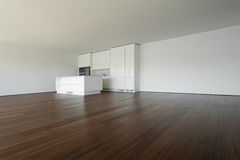 Beautiful empty apartment, white kitchen Stock Photo