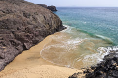 Beautiful empty El Papagayo small beach, Lanzarote Stock Photos