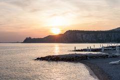 Beautiful empty evening seaside beach. With copyspace royalty free stock images