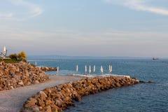 Beautiful empty evening seaside beach. With copyspace stock image