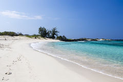Beautiful empty sand beach - romantic destination Royalty Free Stock Photo