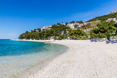 Beautiful Empty Sandy Beach - Baska Voda, Croatia Royalty Free Stock Photo