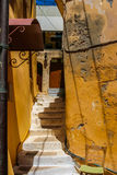 Beautiful empty staircase in Chania, Crete, Greece Royalty Free Stock Images