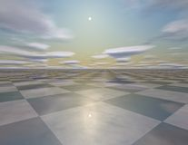 Beautiful empty surreal background with sky, sun, checkerboard Stock Image
