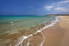 Beautiful empty unspoiled beach in Karpass region of Northern Cyprus. royalty free stock image